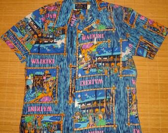 Mens Vintage 70's Waikiki Hawaiian Aloha Shirt - M -  The Hana Shirt Co