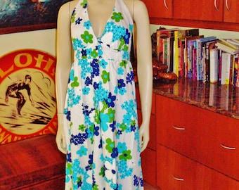 Vintage 60s Nalii Honolulu Halter Summer Fun Rockabilly Hawaiian Dress - S - The Hana Shirt Co