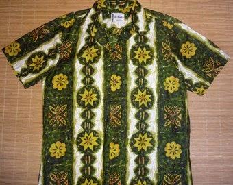 Mens Vintage 60's Ui Maikai Tribal Tiki Hawaiian Aloha Shirt - M - The Hana Shirt Co