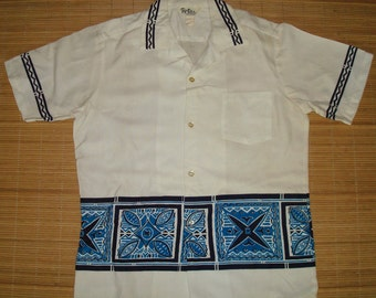 Mens Vintage 60s Reef Tribal Tapa Surf Hawaiian Aloha Shirt - S - The Hana Shirt Co