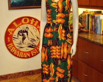 Vintage 70s Alfred Shaheen Mod Psychedelic Hawaiian Tunic- S - The Hana Shirt Co