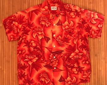 Men's Vintage 60s Mona Loa Rayon Aloha Shirt-LG-The Hana Shirt Co