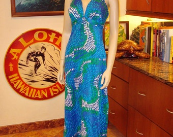 Ladies Vintage 70s Dewese Design Halter Patio Pool Resort Swim Hawaiian Dress - M - The Hana Shirt Co