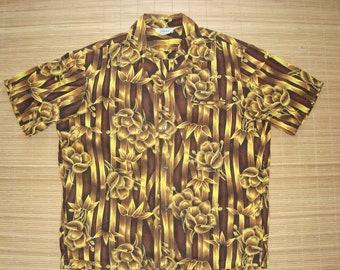 Mens Vintage 60s Made in California Hawaiian Tiki Surf Shirt - L - The Hana Shirt Co