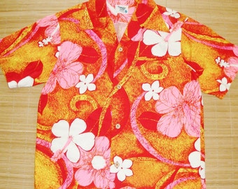 Mens Vintage 70s Pacific Isle Mod Rockabilly Hawaiian Tiki Shirt - S - The Hana Shirt Co