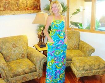 NOS Ladies Vintage 70s Halter Summer Fun HIppie Rockabilly Hawaiian Dress - S -  The Hana Shirt Co
