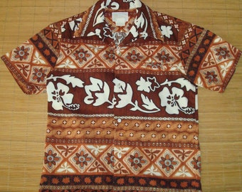 Mens Vintage 60s Tribal Hawaiian Aloha Shirt - S - The Hana Shirt Co