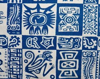 Mens Vintage Mod Vintage 60s La Casa De Josefa Tribal Aztec Tiki Hawaiian Cabana Shirt - L - The Hana Shirt Co