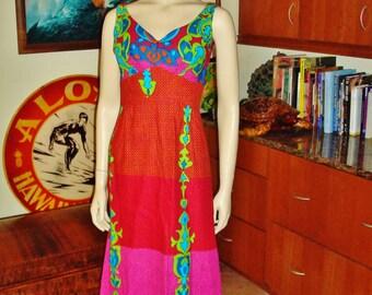 NOS Vintage 60s Hawaiian Dress by Island Casuals Pucci Insp Long  - M - The Hana Shirt Co