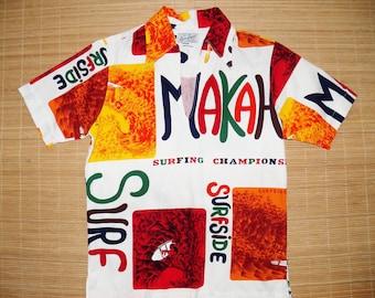 Mens Vintage Mod 60s Don Loper Makaha Surf Championship Endless Summer Hawaiian Shirt - S - The Hana Shirt Co