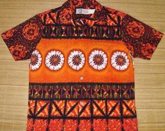 Mens Vintage 70s Shoreline Barkcloth Mod Tribal Hawaiian Shirt - S - The Hana Shirt Co