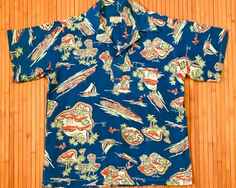 Men's Vintage Campus Towne Hawaiian Islands Pullover Shirt-SM-The Hana Shirt Co