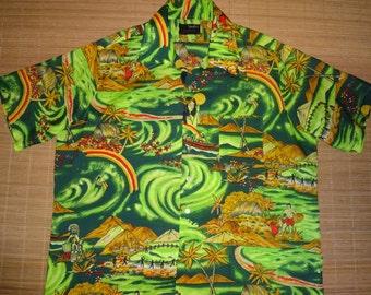 Mens Vintage 70s Van Court Hula Moon Rainbow Hawaiian Aloha Shirt - XL -  The Hana Shirt Co
