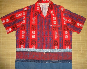 Men's Vintage 70s Barefoot Tiki Hawaiian Shirt - XL - The Hana Shirt Co