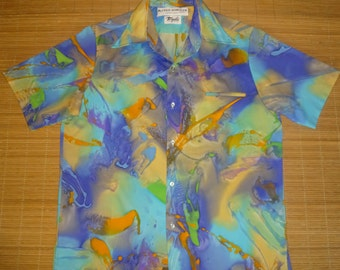 Mens Vintage 70s Alfred Shaheen Art Deco Hawaiian Shirt - M - The Hana Shirt Co