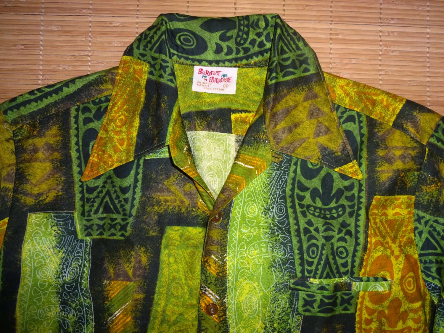 1bb3a7fc Mens Vintage 60s Barefoot TIKI TIKI Hawaiian Aloha Shirt - S - The Hana  Shirt Co