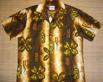 Mens Vintage 60's Ui Maikai Tribal Wonder Hawaiian Aloha Shirt - M - The Hana Shirt Co