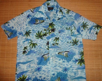 Mens Vintage 70s Van Court Palm Sail Hawaiian Aloha Shirt - L -  The Hana Shirt Co