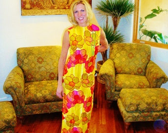 NOS Ladies Vintage 60s Malihini Rose Flower Pin Rockabilly Hawaiian Dress - M -  The Hana Shirt Co