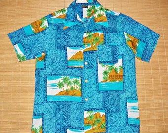 Mens Vintage 70s Towncraft Mod Floral Waikiki Beach Hawaiian Shirt - L - The Hana Shirt Co