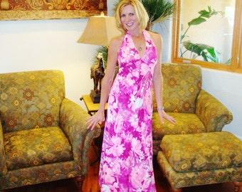 Ladies Vintage 60s Halter Summer Fun Rockabilly Hawaiian Dress - S - The Hana Shirt Co