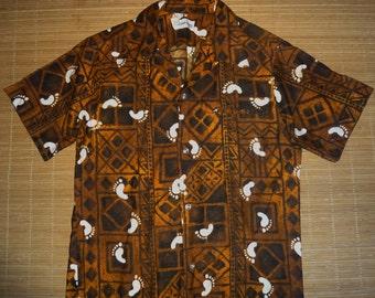 Mens Vintage 70s Liberty House Hang Ten Feet Hawaiian Shirt - M -  The Hana Shirt Co