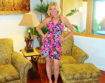 Ladies Vintage 70s Halter Sun Rockabilly Swing Mini Hawaiian Dress - S - The Hana Shirt Co