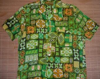 Mens Vintage 60s Kamawahanee Rayon Aloha Shirt - S - The Hana Shirt Co