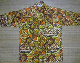 Mens Vintage 60s Paradise Hawaii BoHo Tribal Tiki Hawaiian Shirt - L - The Hana Shirt Co