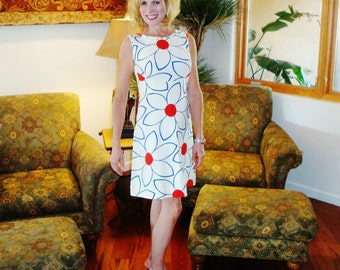 Ladies Vintage 70s Mod 4th of July Hawaiian Mini Dress - M - The Hana Shirt Co