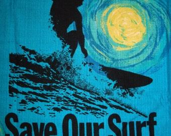 Mens Vintage 60s Ui Maikai Save Our Surf SOS Hawaiian Aloha Shirt - L - The Hana Shirt Co