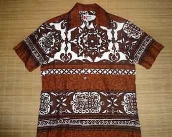 Mens Vintage 60s Holo Holo Barkcloth Hawaiian Aloha Shirt - S - The Hana Shirt Co