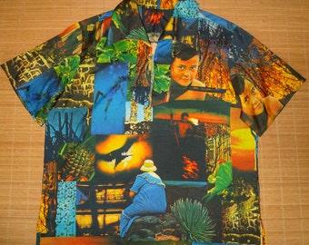 Men's Vintage 70s Photo Print Surf Hula Hawaii Hawaiian Shirt - XL - The Hana Shirt Co