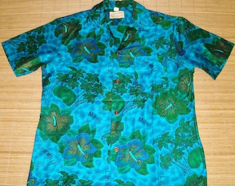 Mens Vintage 60s Royal Hawaiian Mod Floral Hawaiian Islands Aloha Shirt - M - The Hana Shirt Co