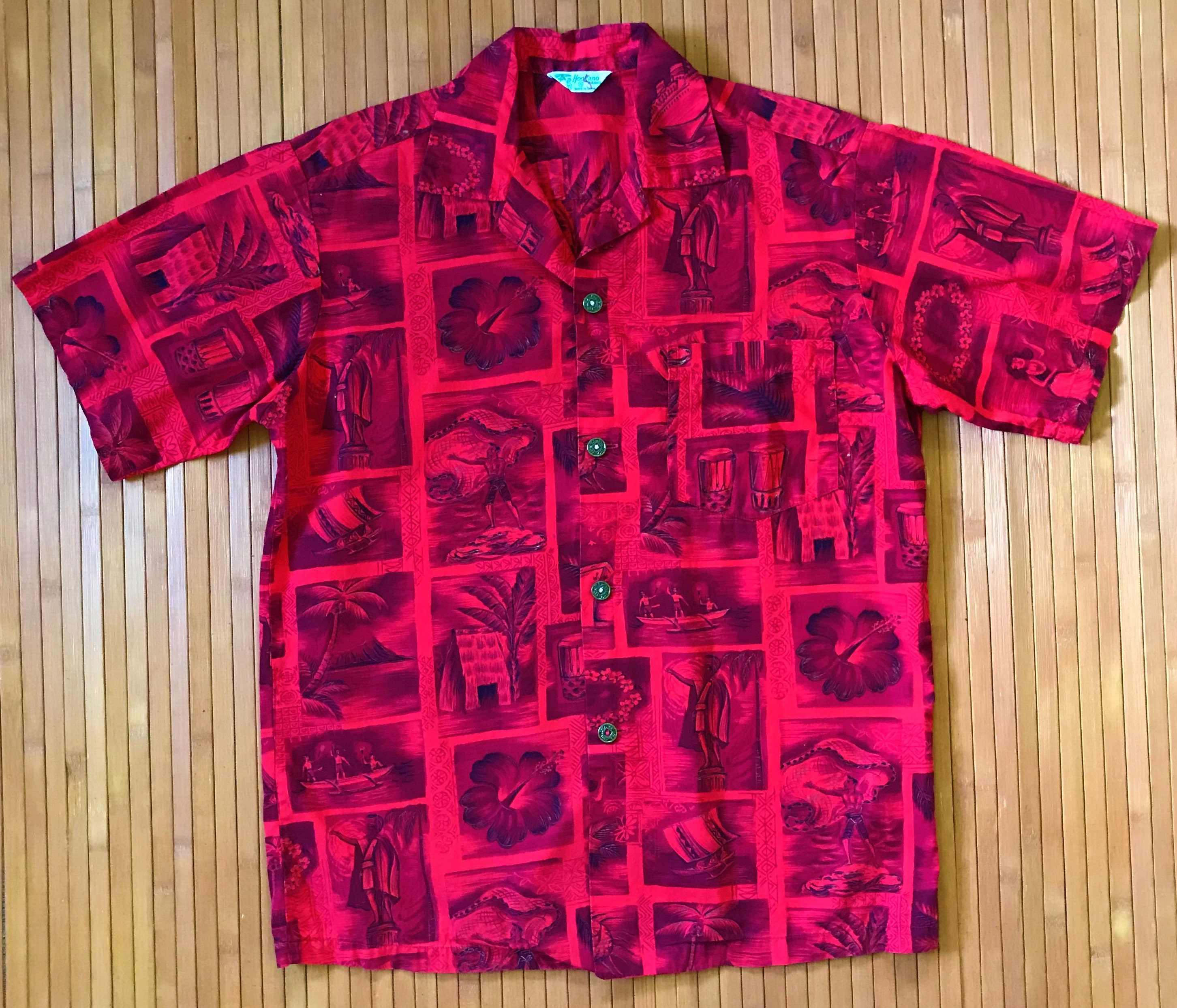 1940s Men's Shirts, Sweaters, Vests Mens Vintage 40S-50S Hookano Picturesque Hawaiian Aloha Shirt-Sm-The Hana Shirt Co $18.95 AT vintagedancer.com
