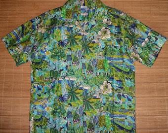 Vintage 70s Hawaiian Surf Island Life Aloha Hawaiian Shirt - L -The Hana Shirt Co