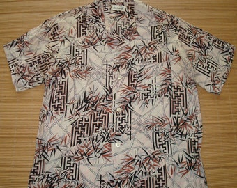 Mens Vintage 60s Shirt Craft Rayon Bamboo Hawaiian Aloha Shirt - M - The Hana Shirt Co