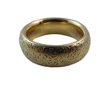 Antique Gold Wedding Ring with Floral Engraving,  London 1881