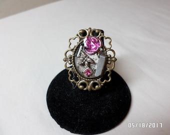 Steampunk Pink Rose Adjustable Ring