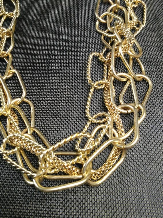 Multi chain gold tone necklace - image 2