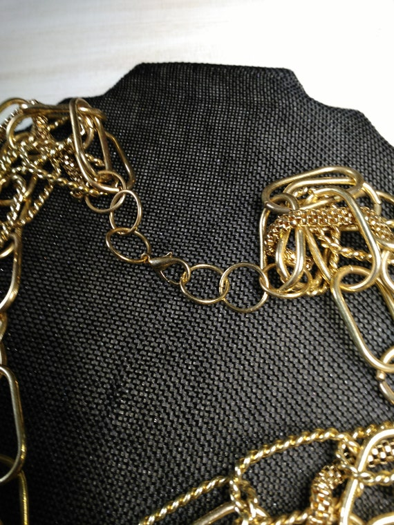 Multi chain gold tone necklace - image 3