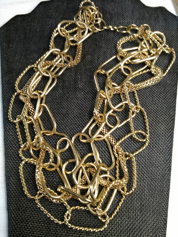 Multi chain gold tone necklace - image 4
