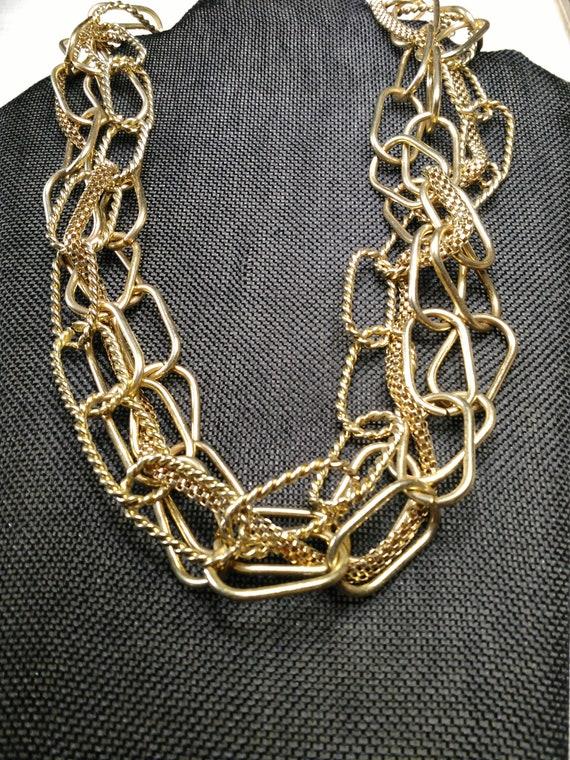 Multi chain gold tone necklace - image 1