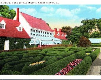 Mount Vernon, Virginia, Gardens, George Washington's Home - Postcard - Vintage Postcard - Postcard -  Unused (Z)