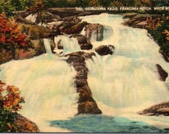 Vintage Postcard - Franconia Notch, Georgianna Falls, White Mountains, New Hampshire - Linen Postcard - Postcard - Unused (UUU)