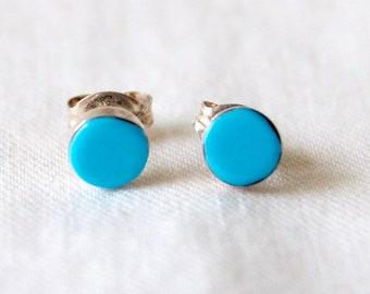 Round Turquoise Stud Earrings Vintage Modern Circle Posts Studs Blue Stone Discs Minimalist Jewelry