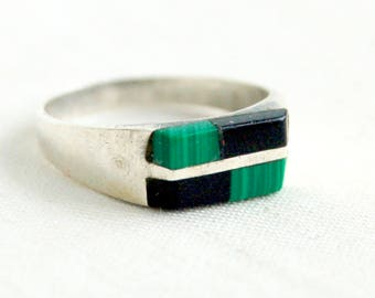 Geometric Stone Ring Size 5 .75 Green Malachite Black Onyx Mexican Modernist Rectangle Band Taxco Mexico