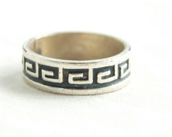 Greek Style Ring Band Size 6 .5 Vintage Mexican Sterling Silver Aztec Tribal Southwestern Key Design