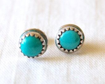Turquoise Stud Earrings Tiny Vintage Southwestern Round Posts Studs Artist Signed Jenn Sawtooth Bezel Girls Jewelry