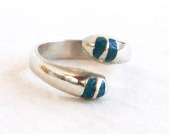 Mexican Wrap Ring Size 7 .5 Sterling Silver Bypass Doublet Modern Striped Blue Stone Ring Minimalist Statement Jewelry